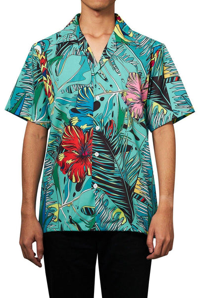 Men'S Hawaiian Shirt Summer Flowers Leaves Printing - SpiritCos