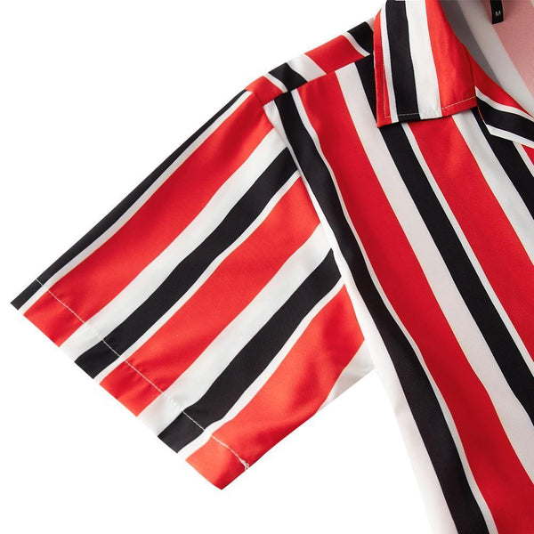 Men'S Hawaiian Shirt Red Black Stripes Printing - SpiritCos