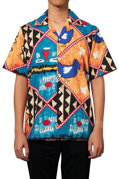 Men'S Hawaiian Shirts Animal Doodle Pattern Printing - SpiritCos