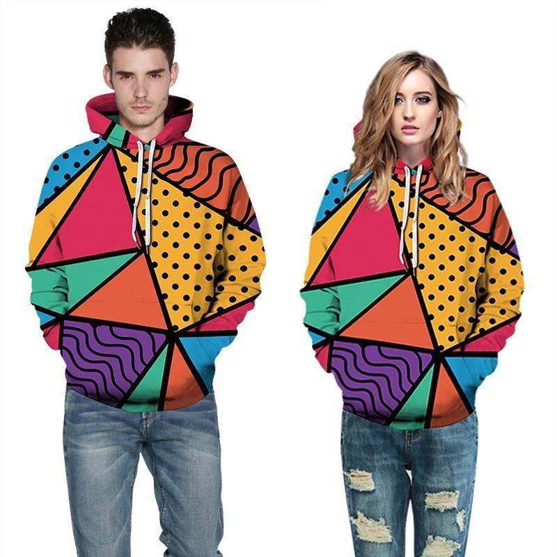 Mens Hoodies 3D Graphic Printed Colorful Geometry Pullover - SpiritCos