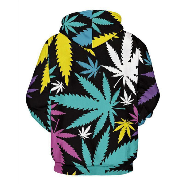 Mens Hoodies 3D Graphic Printed Colorful Maple Leaf Pullover - SpiritCos