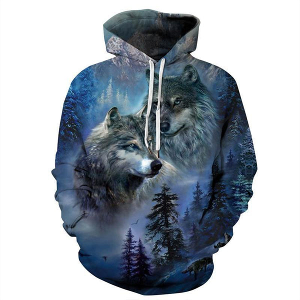 Mens Hoodies 3D Graphic Printed Two Wolves Pullover - SpiritCos