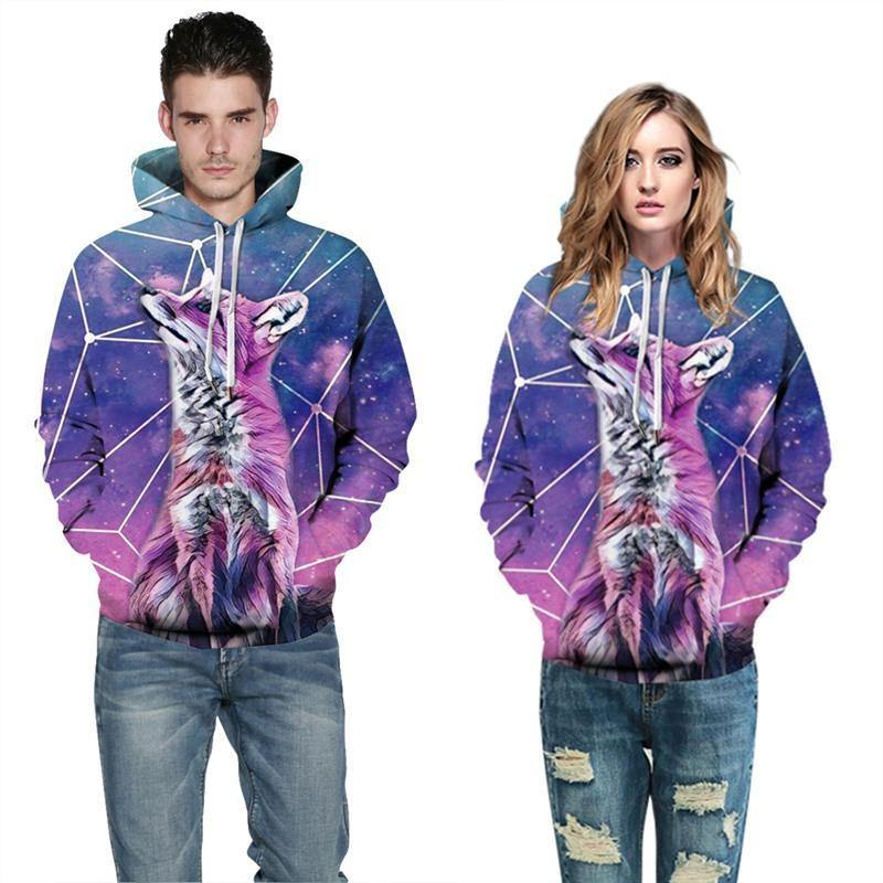 Mens Hoodies 3D Graphic Printed Starry Wolf Pullover Hoody - SpiritCos