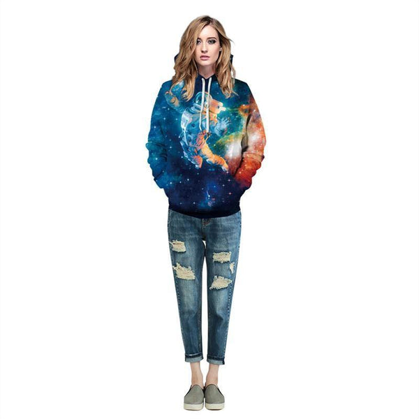 Mens Hoodies 3D Graphic Printed Starry Astronaut Pullover Hoodie - SpiritCos