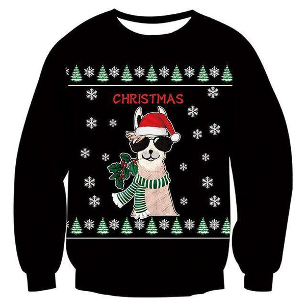 Mens Womens Funny Christmas Dog Black Sweater - SpiritCos