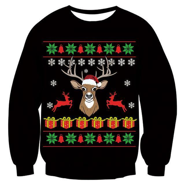 Mens Womens Black Funny Deer Christmas Sweater - SpiritCos