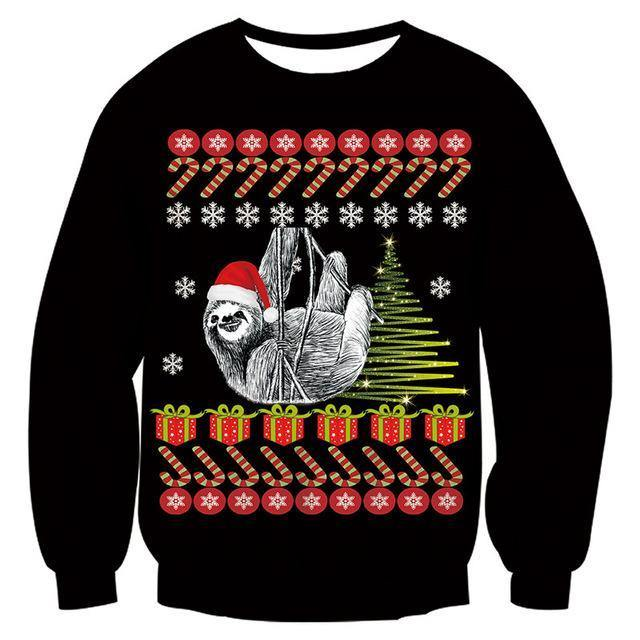 Mens Black Funny Christmas Sweater - SpiritCos