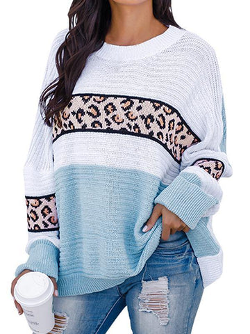 Womens Leopard Oversized Crew Neck Sweater - SpiritCos