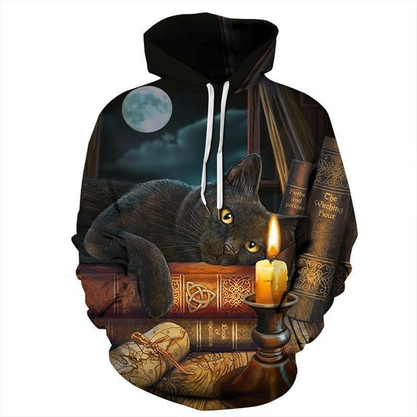 Mens Hoodies 3D Graphic Printed Black Cat Pullover - SpiritCos
