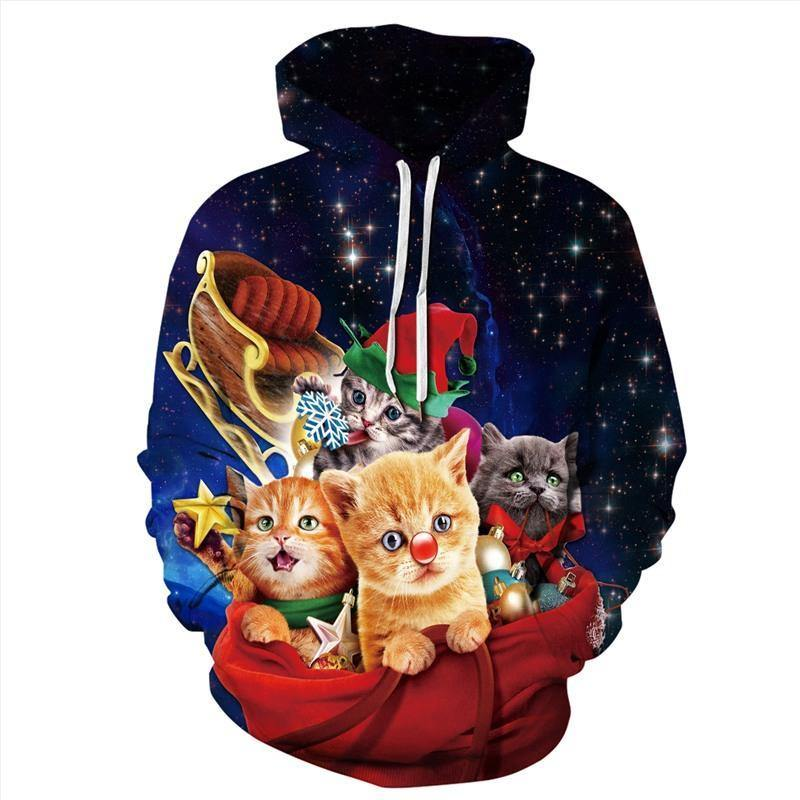 Mens Hoodies 3D Graphic Printed Galaxy Cat Party Pullover - SpiritCos