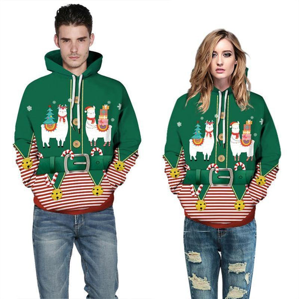 Mens Hoodies 3D Graphic Printed Christmas Antelope Green Pullover - SpiritCos