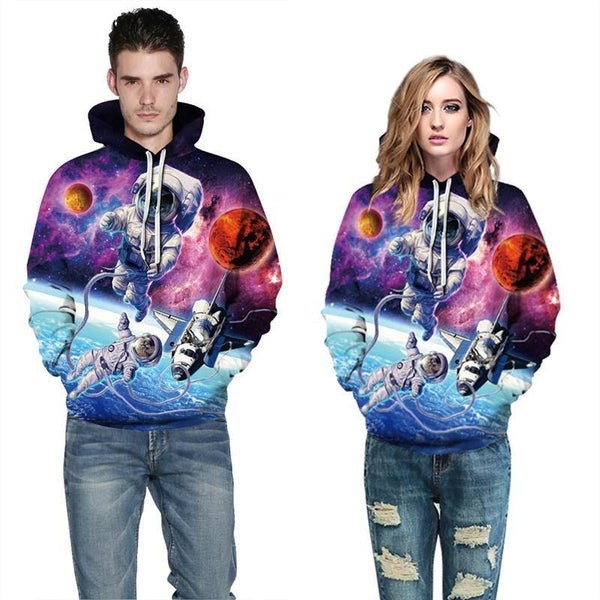 Mens Hoodies 3D Graphic Printed Christmas Alien Cat Pullover - SpiritCos