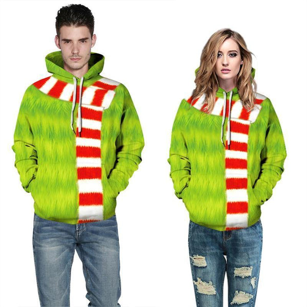 Mens Hoodies 3D Graphic Printed Ugly Christmas Scarf Decoration Green Pullover - SpiritCos
