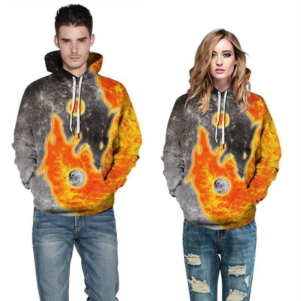 Mens Hoodies 3D Graphic Printed Two Wolves Pullover Hoodie - SpiritCos