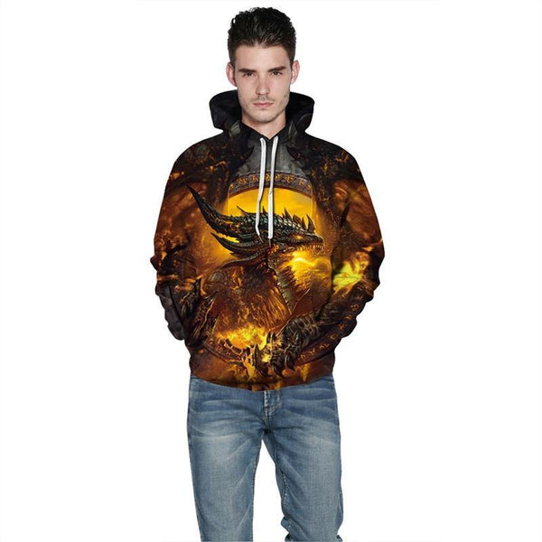 Mens Hoodies 3D Graphic Printed Warcraft Pullover Hoodie - SpiritCos