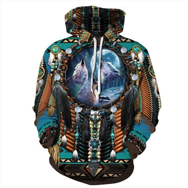 Mens Hoodies 3D Graphic Printed Indian Style Pullover - SpiritCos