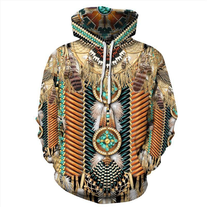 Mens Hoodies 3D Graphic Printed Indian Style Pullover Hoodied - SpiritCos
