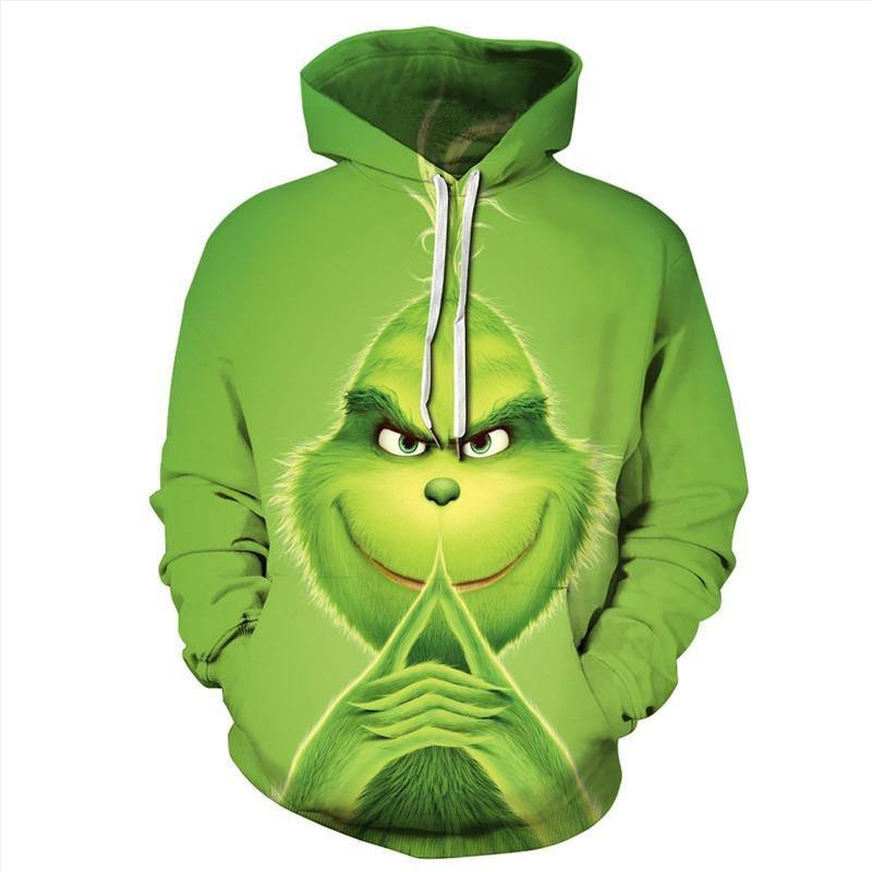 Mens Hoodies 3D Graphic Printed Graphic Grinch Green Pullover Hoody - SpiritCos