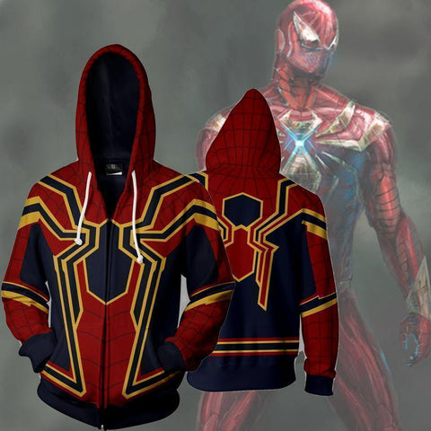 Spiderman Hoodies Homecoming Iron Spider Man Zip Up Hoodie - SpiritCos