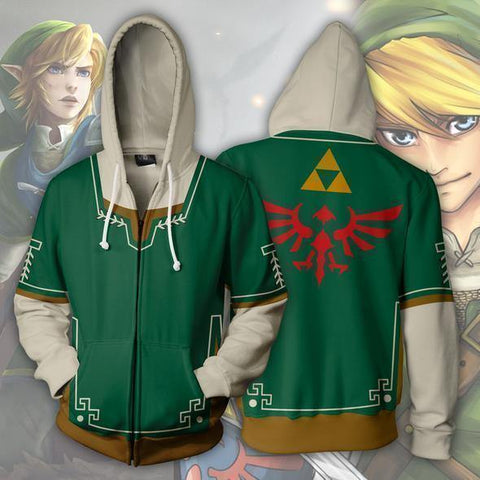 The Legend Of Zelda Link Green Zip Up Hoodie - SpiritCos