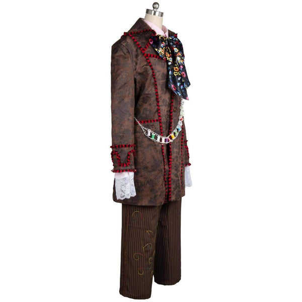 Alice In Wonderland Johnny Depp Mad Hatter Jacket Pants Tie 6 Pcs Costume - SpiritCos