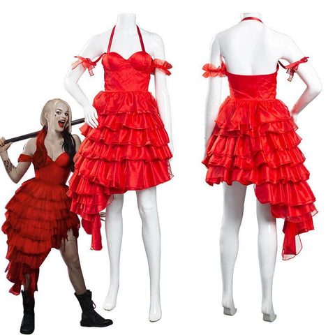 The Suicide Squad() Harley Quinn Red Dress Outfits Halloween Carnival Suit Cosplay Costume - SpiritCos