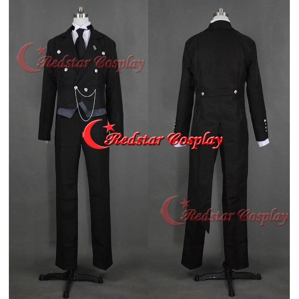 Black Butler Sebastian Michaelis Tails Cosplay Costume - Custom Made In Any Size - SpiritCos