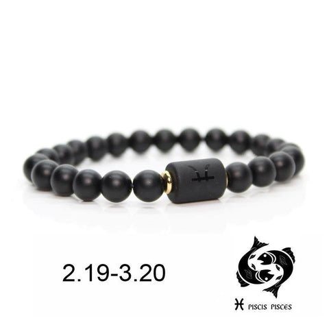 Personalized Zodiac Signs In Black Beads Bracelet - SpiritCos