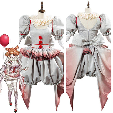 Pennywise Horror Pennywise The Clown Costume Outfit For Women Girls Halloween Carnival Cosplay Costume - SpiritCos