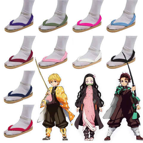 Anime Demon Slayer Kimetsu No Yaiba Geta Clogs Shoes Flip Flops Sandals - SpiritCos