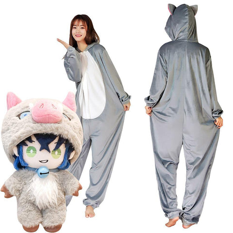 Demon Slayer ·Hashibira Inosuke Onesies Pajama Men Women Sleepwear Pyjamas Christmas Halloween Costume Cosplay Costume - SpiritCos