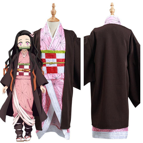 Demon Slayer: Kimetsu No Yaiba Kamado Nezuko Kids Kimono Outfits Halloween Carnival Suit Cosplay Costume - SpiritCos