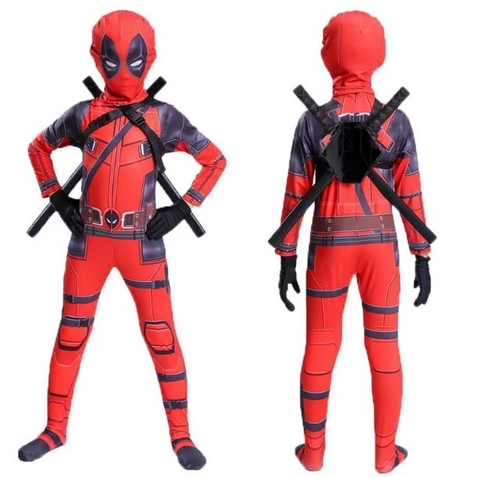Deadpool Costume For Kids Boys Halloween Cosplay With Swords Gloves - SpiritCos