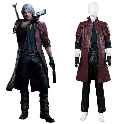 Devil May Cry V Dmc5 Dante Aged Outfit Leather Cosplay Costume - SpiritCos