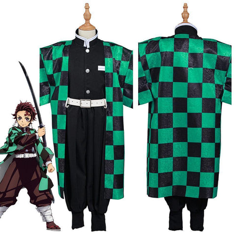 Demon Slayer: Kimetsu No Yaiba Kamado Tanjirou Kids Kimono Outfits Halloween Carnival Suit Cosplay Costume - SpiritCos