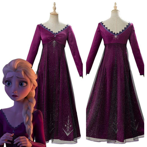 Frozen 2 Elsa Adult Outfit Purple Dress Cosplay Costume - SpiritCos