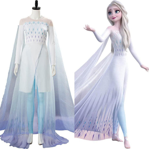 Frozen 2 Queen Ahtohallan Cave Elsa Snow Flake Dress Cosplay Costume - SpiritCos