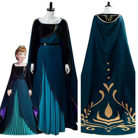 Frozen 2 Queen Anna Coronation Gown Dark Green Dress Cosplay Costume - SpiritCos
