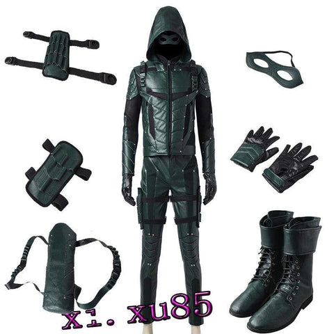 Green Arrow Season 5 Oliver Queen Cosplay Costume Full Suit Custom Any Size - SpiritCos