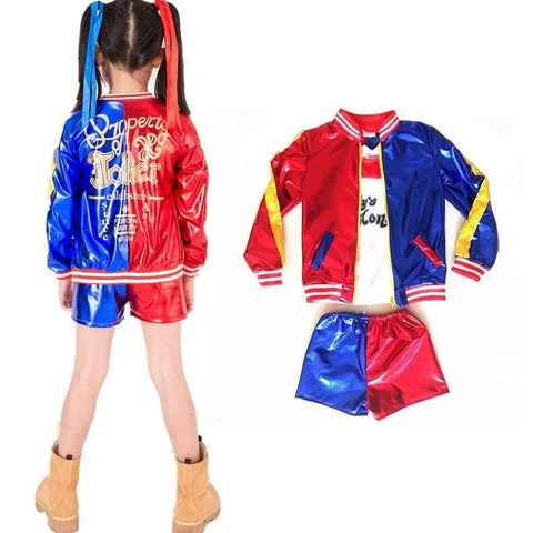Kids Girls Suicide Squad Harley Quinn Coat Shorts Top Set Halloween Cosplay Costume Suit - SpiritCos