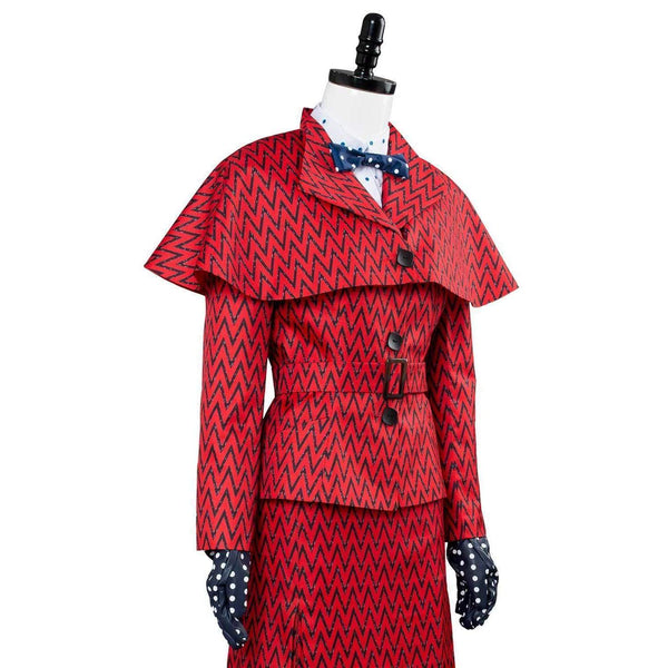 Mary Poppins Returns Costume Mary Poppins Dress Hat Red Version - SpiritCos