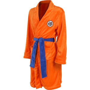 Mens Bathrobe Dragon Ball Son Goku Outfit Pattern Plush Robe For Adults Orange - SpiritCos