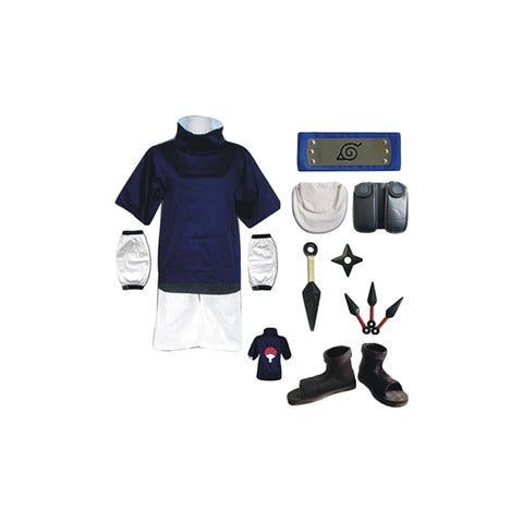 Naruto: Shippuden Sasuke Uchiha Outfit Kids Children Version Cosplay Costume - SpiritCos