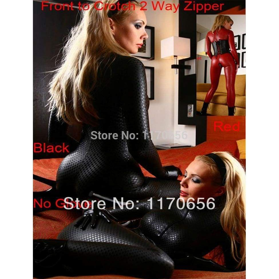 New 2 Colors Black Red Latex Leotard Sexy Body Suits for Women PVC Erotic Leotard Costumes Latex Bodysuit - SpiritCos