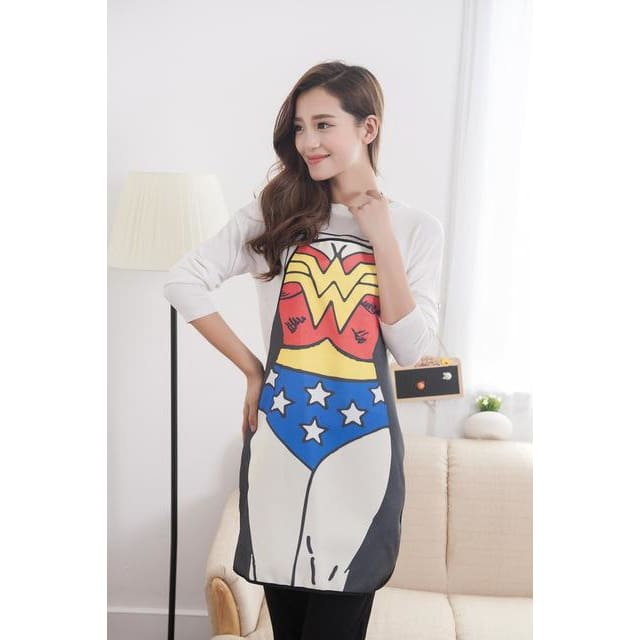 Men Women Apron Superhero Superman Batman Wonder Woman Spiderman Cosplay Fashion Creative Funny Sexy Home Party - SpiritCos