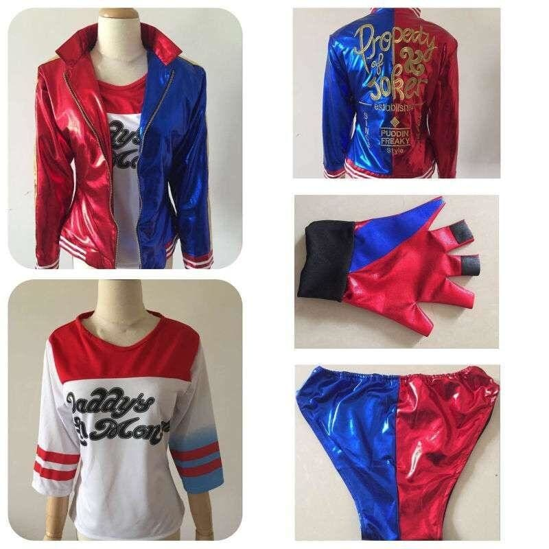 New Movie Suicide Squad Harley Quinn Female Clown Cosplay Costume Clothing Halloween Anime Coat Jacket One Set Uniform - SpiritCos