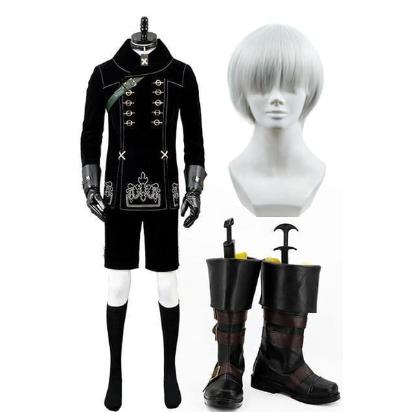 Nier:Automata 9S Cosplay Costume + Wigs + Shoes - SpiritCos
