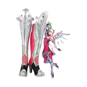 Overwatch Mercy Angela Ziegler Outfit Pink Mercy Skin Cosplay Shoes Boots - SpiritCos