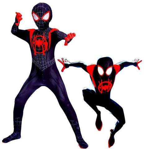 Kids Spider-Man Into The Spider-Verse Miles Morales Cosplay Costume Zentai Spiderman Pattern Bodysuit Suit Jumpsuits - SpiritCos