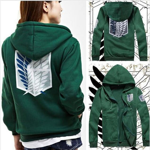 2 Colors Anime Attack On Titan Unisex Cosplay Costume Green/Black Hoodie Scouting Legion Hooded Jacket - SpiritCos